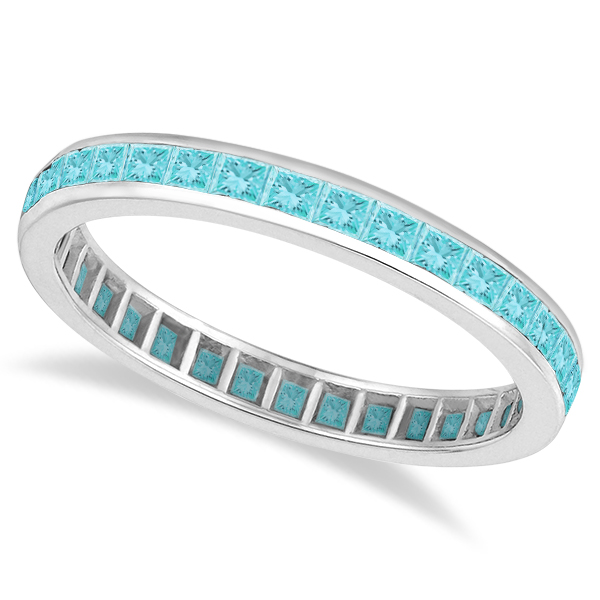 Princess-Cut Aquamarine Eternity Ring Band 14k White Gold (1.36ct)