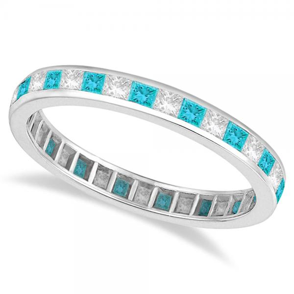 Princess-Cut Blue & White Diamond Eternity Ring 14k White Gold (1.26ct)