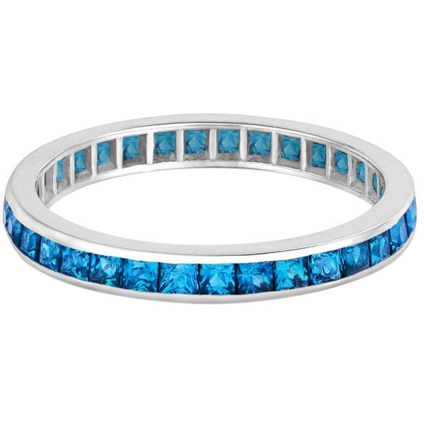 princess cut blue topaz eternity ring band 14k white gold