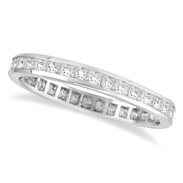 Princess-Cut Diamond Eternity Ring Band 14k White Gold (1.16ct)
