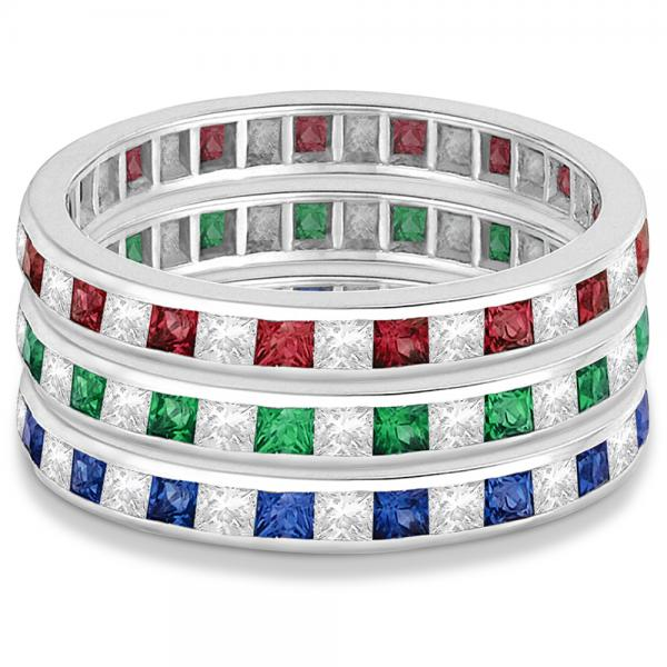 Princess-Cut Sapphire & Diamond Eternity Ring 14k White Gold (1.26ct)