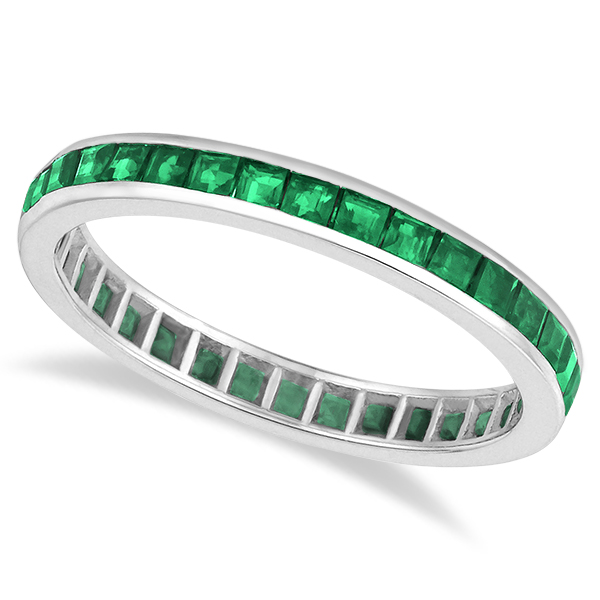princess cut emerald eternity ring band 14k white gold 1 36ct