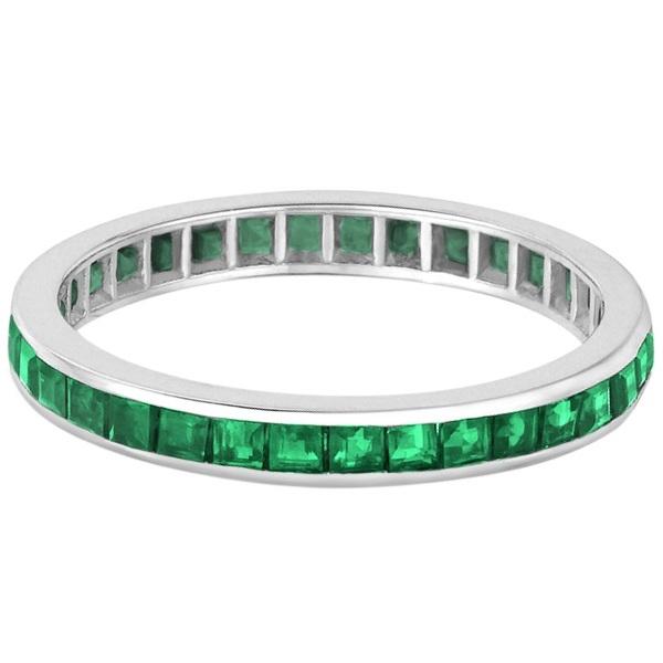 Princess-Cut Emerald Eternity Ring Band 14k White Gold (1.36ct)