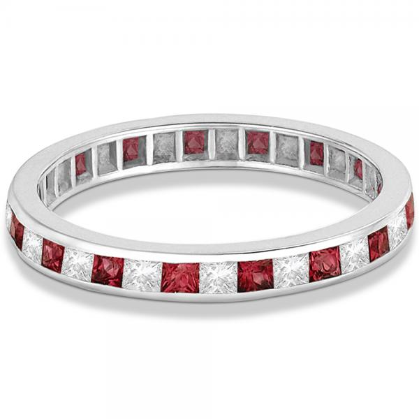 Princess-Cut Garnet & Diamond Eternity Ring 14k White Gold (1.26ct)