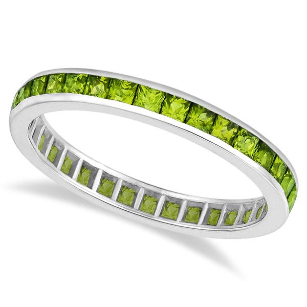 Princess-Cut Peridot Eternity Ring Band 14k White Gold (1.36ct)
