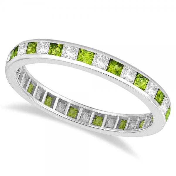 Princess-Cut Peridot & Diamond Eternity Ring 14k White Gold (1.26ct)