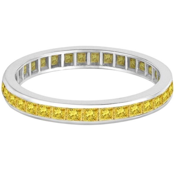 Princess-Cut Fancy Yellow Canary Diamond Ring 14k White Gold (1.16ct)