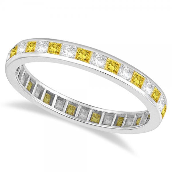 Princess-Cut Yellow & White Diamond Eternity Ring 14k White Gold (1.26ct)