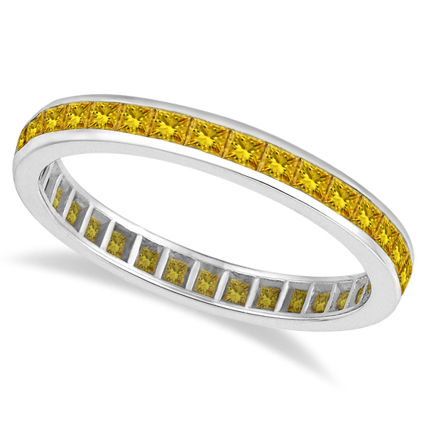 Princess-Cut Yellow Sapphire Eternity Ring Band 14k White Gold (1.36ct)