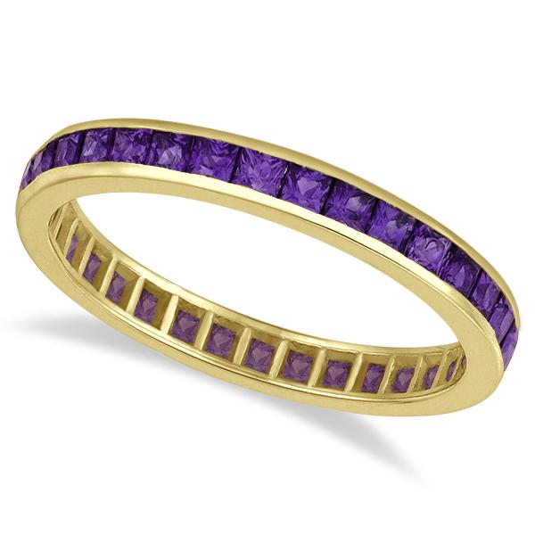 Princess-Cut Amethyst Eternity Ring Band 14k Yellow Gold (1.36ct)