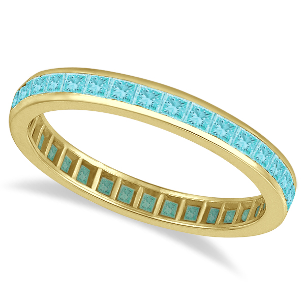 Princess-Cut Aquamarine Eternity Ring Band 14k Yellow Gold (1.36ct)