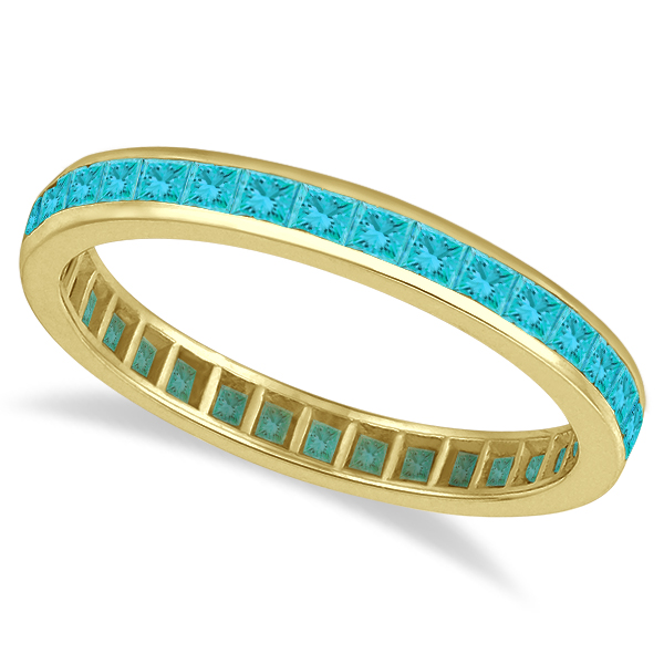 Princess-Cut Fancy Blue Diamond Eternity Ring 14k Yellow Gold (1.16ct)