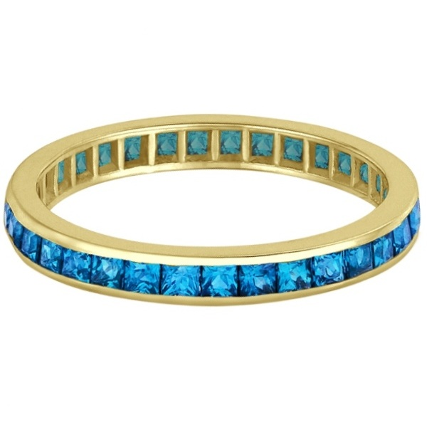 Princess-Cut Blue Topaz Eternity Ring Band 14k Yellow Gold (1.36ct)