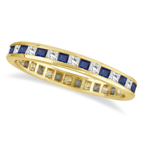 Princess-Cut Sapphire & Diamond Eternity Ring 14k Yellow Gold (1.26ct)
