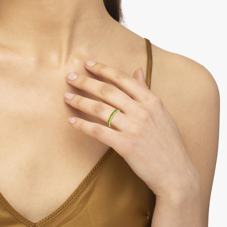 Princess-Cut Peridot Eternity Ring Band 14k Yellow Gold (1.36ct)