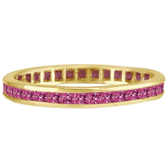 Princess-Cut Pink Sapphire Eternity Ring Band 14k Yellow Gold (1.36ct)