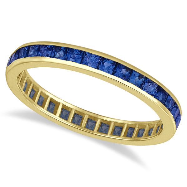 Princess-Cut Blue Sapphire Eternity Ring Band 14k Yellow Gold (1.36ct)