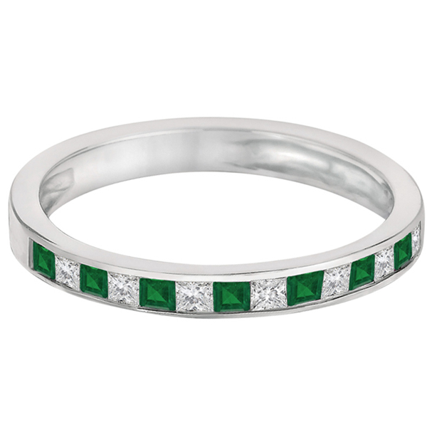 channel set emerald ring band 14k white gold 0 60ct