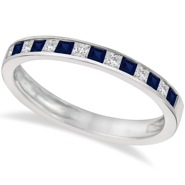 Princess Cut Diamond & Blue Sapphire Ring Band 14k White Gold (0.60ct)