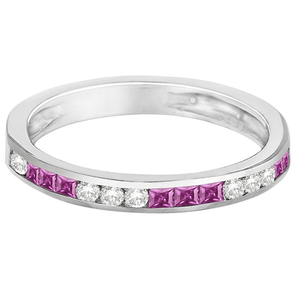 Channel Set Diamond & Pink Sapphire Ring Band 14k White Gold (0.55ct)