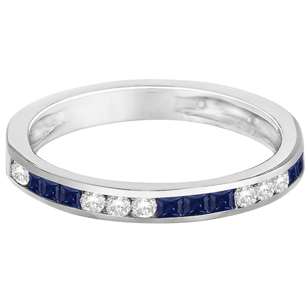 Channel Set Diamond & Blue Sapphire Ring Band 14k White Gold (0.55ct)