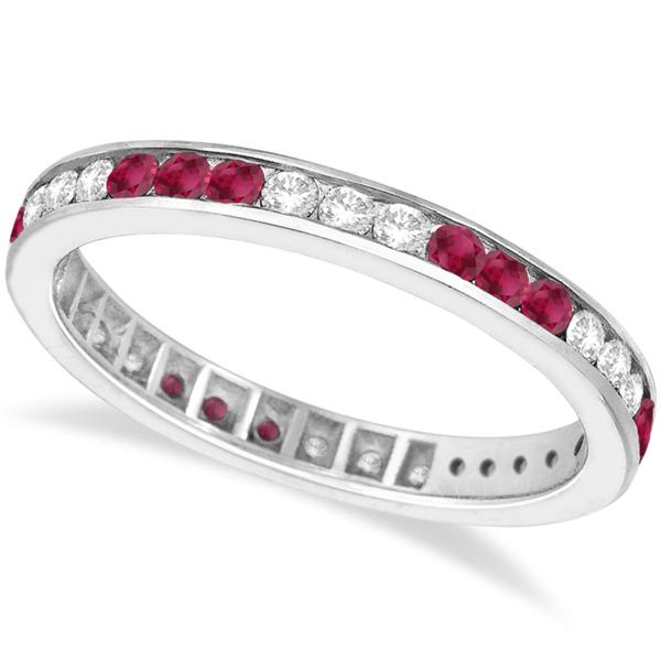 Diamond & Ruby Eternity Stack Ring Band 14k White Gold (1.10ct)