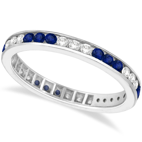 Diamond & Blue Sapphire Eternity Stack Ring Band 14k White Gold (1.10ct)