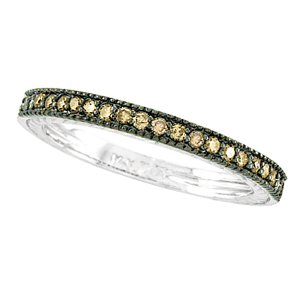 Champagne Diamond Ring Band w/ Milgrain Edges Palladium (0.31ct)