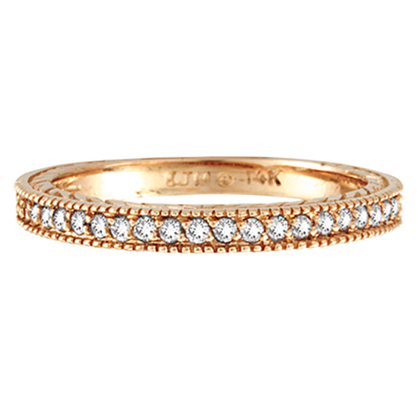 Diamond Stackable Ring Thin Band in 14K Rose Gold (0.31 ctw)