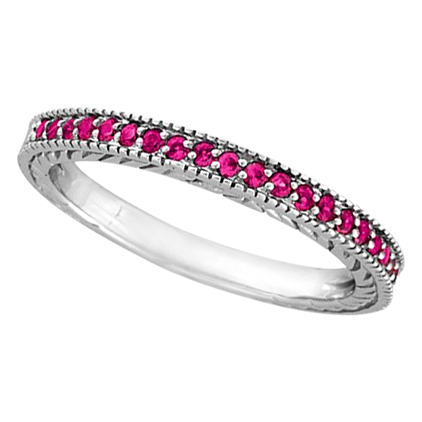 Pink Sapphire Stackable Ring Band with Milgrain Edges in Palladium