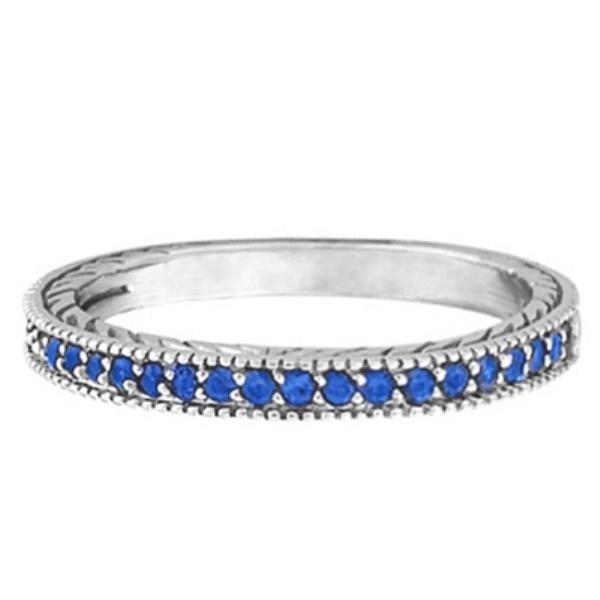 Blue Sapphire Stackable Ring With Milgrain Edges in Palladium
