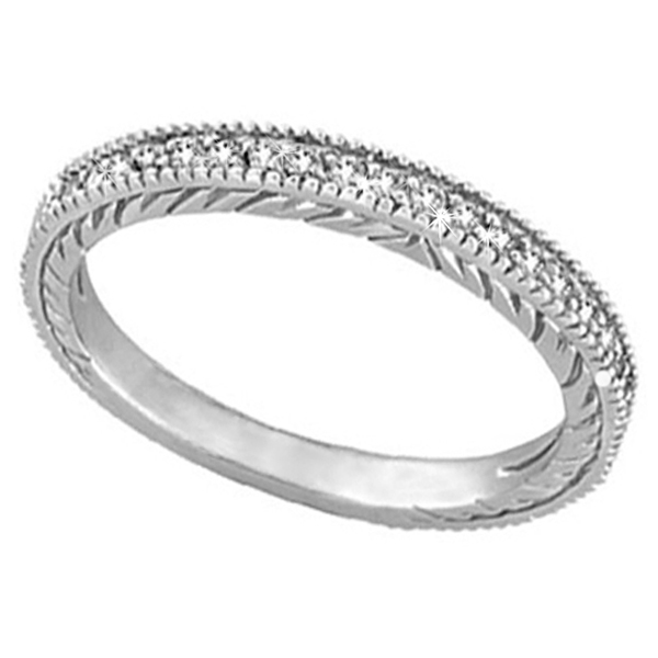 Diamond Anniversary Ring  Milgrain Wedding Band Palladium (0.31ct)