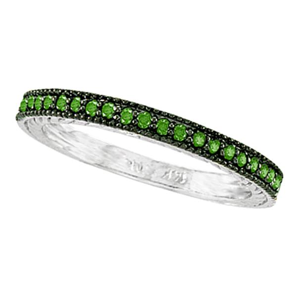 Green Diamond Ring Band 14K White Gold (0.31 ctw)