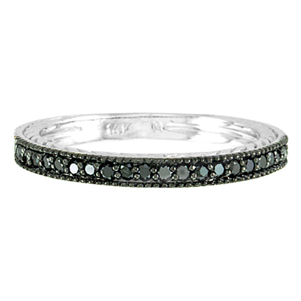 Black Diamond Stackable Ring Guard in 14K White Gold (0.312 ct)