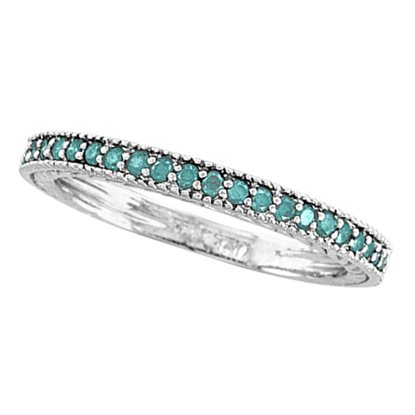 Blue Diamond Stackable Ring 14K White Gold (0.312ct)