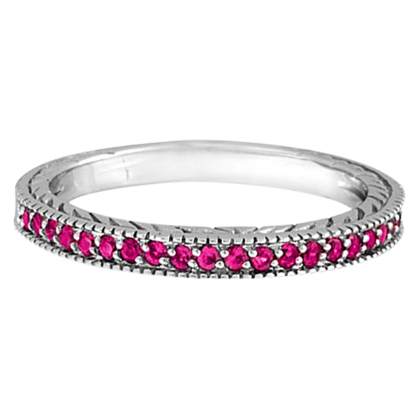 Pink Sapphire Stackable Ring with Milgrain Edges in 14k White Gold