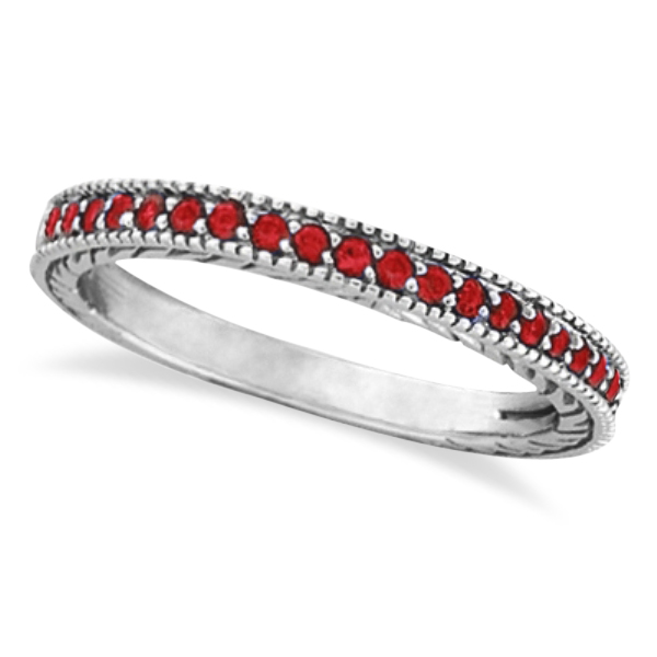 Ruby Stackable Ring Band Milgrain Edges 14k White Gold (0.25ct)