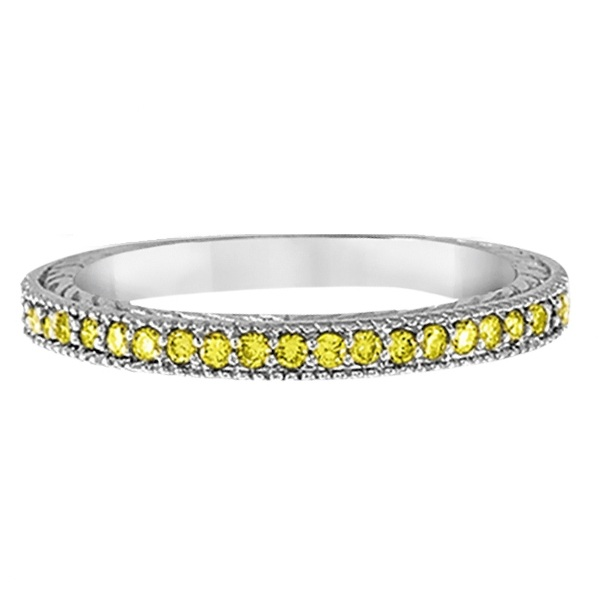 Yellow Diamond Wedding Ring Band 14K White Gold (0.31ct)
