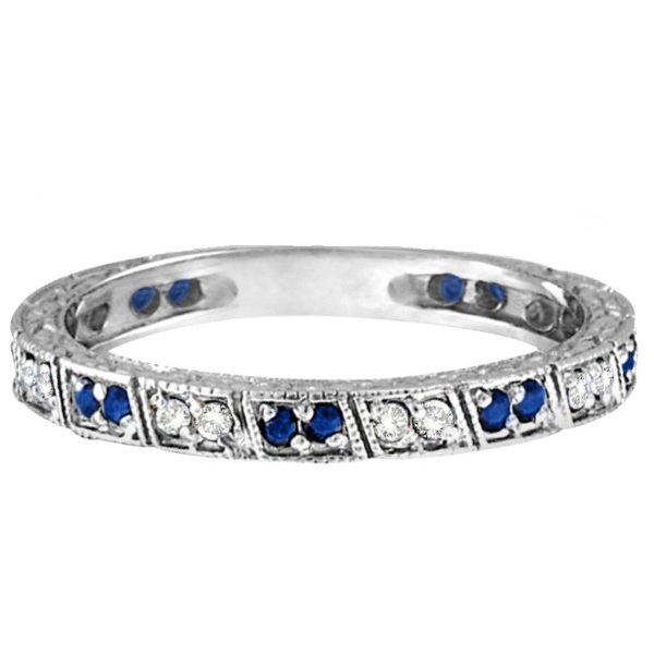 Blue Sapphire & Diamond Filigree Ring Anniversary Band 14k White Gold