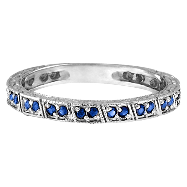Blue Sapphire Stackable Ring Anniversary Band in Palladium