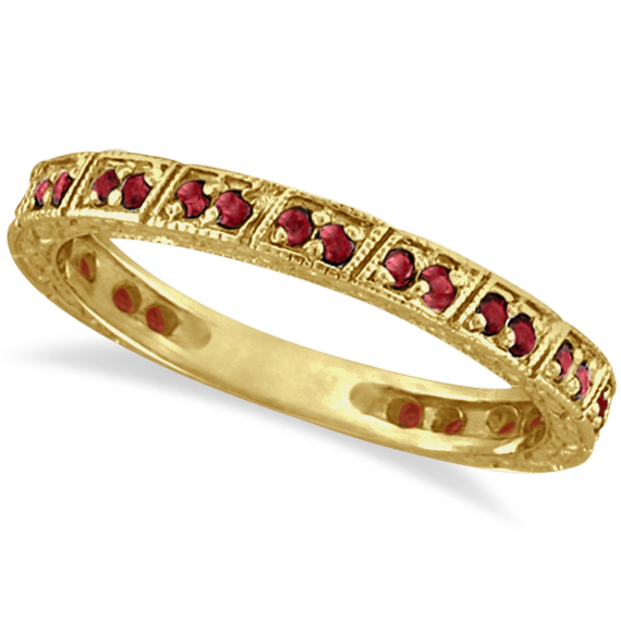 Ruby Stackable Ring Anniversary Band in 14k Yellow Gold (0.27ct)