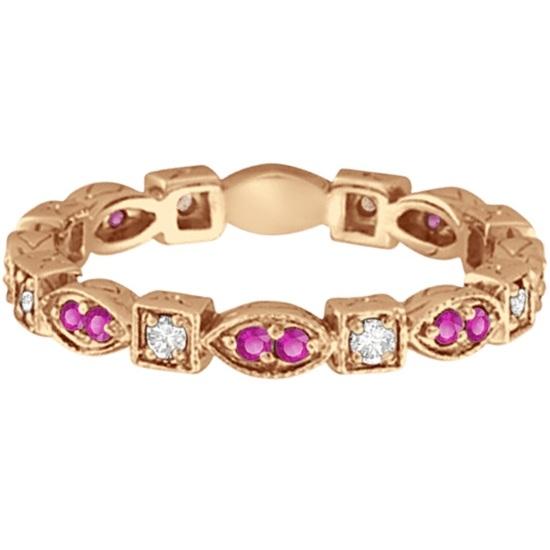 Pink Sapphire & Diamond Eternity Ring Band 14k Rose Gold (0.47ct)