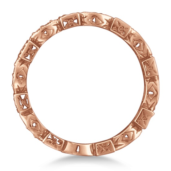 Antique Style Diamond Eternity Ring Band in 14k Rose Gold (0.36ct)