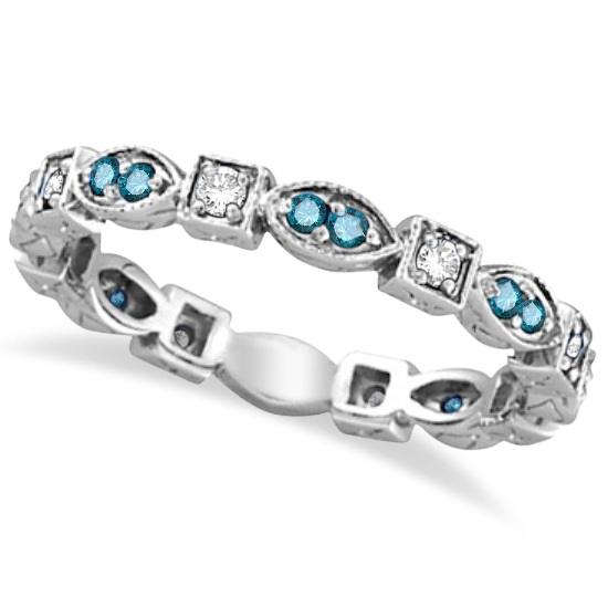 Blue & White Diamond Eternity Anniversary Ring 14k White Gold (0.50ct)