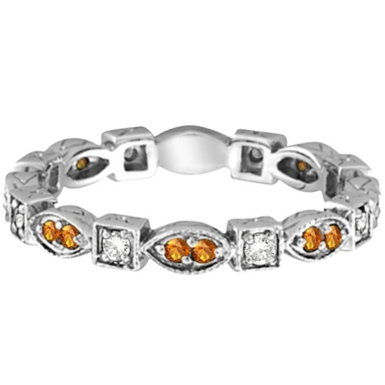 Citrine & Diamond Eternity Anniversary Ring Band 14k White Gold