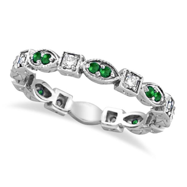 Emerald & Diamond Eternity Ring Anniversary Band 14k White Gold