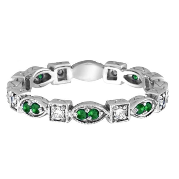 emerald eternity ring anniversary band 14k white