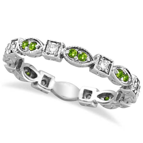 Peridot & Diamond Eternity Anniversary Ring Band 14k White Gold