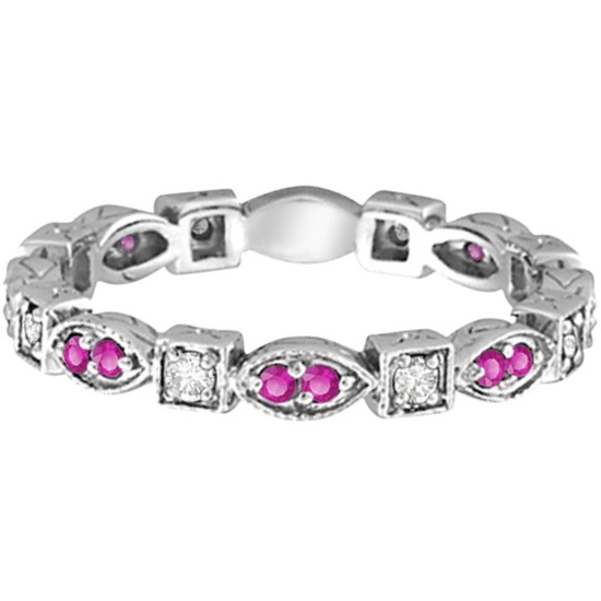 Pink Sapphire & Diamond Eternity Ring Band 14k White Gold (0.47ct)