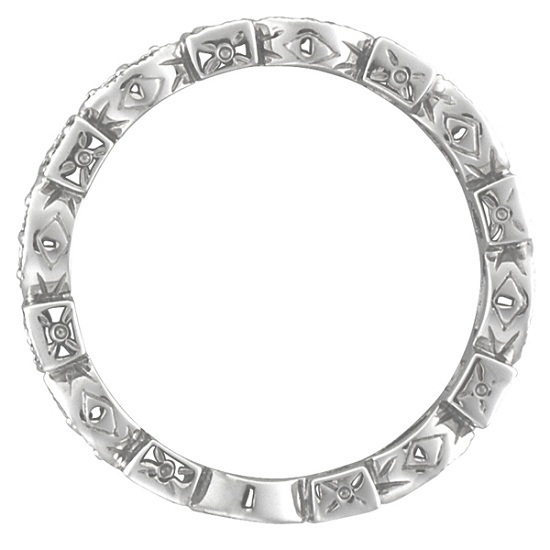 Ruby & Diamond Eternity Anniversary Ring Band 14k White Gold